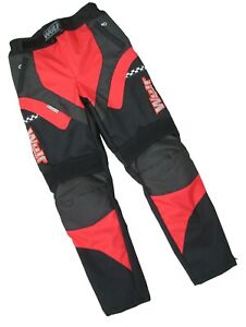 kids alpina armoured motocross motorbike road trail red trouser pants age 11-16