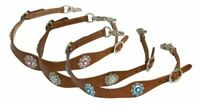 Showman Medium Oil Leather Wither Strap w/ Crystal Rhinestone Conchos