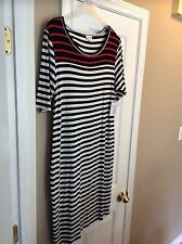LuLaRoe Julia Dress size 2XL NWT Striped Black And White and Red