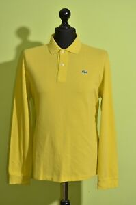 Men's Lacoste Long Sleeve Polo Shirt Yellow Size 5 / L
