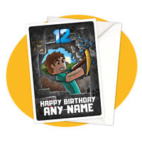 Steve Mining - PERSONALISED BIRTHDAY CARD - Minecraft themed gamer personalized