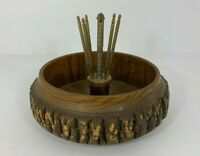 Vintage HMO Nut Cracker Set Log Bark Wood Nut Bowl 6 Picks Nut Cracker Set