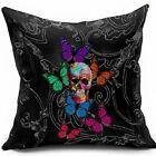 Throw Pillow Cover Black Skull Butterflies Home Decor Cushion Sofa Case