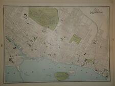 Vintage 1895 MONTREAL MAP ~ Old Antique Original Atlas Map 72318
