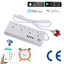 Smart WiFi Socket Power Strip Extension Lead 4 USB UK Plug Timer Voice Control