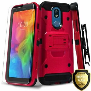 For LG K40 / Solo LTE / K12 Plus Case, Clip Kickstand + Tempered Glass Protector