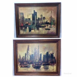 Pair Of Ozz Franca Prints On Board Cityscape Harbor MCM Wood Frame Abstract