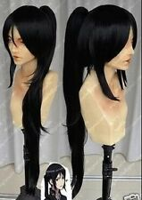 Popular new Long black Cosplay Straight Wig + one clip on Ponytails