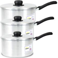 Plastic Handle Aluminium Kitchen Cooking Pan Saucepan Pot 3 pcs Value Cookware