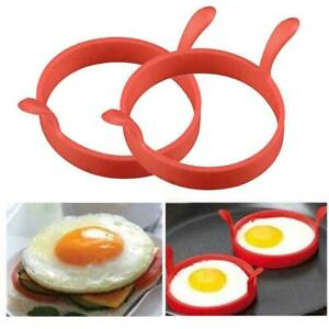 2 x Silicone Egg Frying Rings Fried Poacher Mould Perfect For Pancakes U4R9