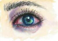 ACEO Eye women Fantasy painting original watercolor art card signed