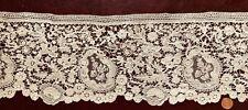 19th C. Brussels Mixed Lace flounce Duchesse bobbin / Point de Gaze needle lace