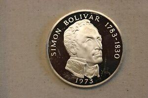 1973 Panama 20 Balboas Simon Bolivar Proof Silver