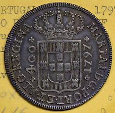 P0089 Portugal 1797  400 Reis silver  Cruzado Novo Maria I alone combine shippin