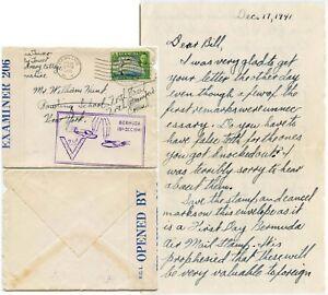 BERMUDA 1941 BIRD AIRMAIL FDC CENSOR + V FLYING BOAT CACHET + LETTER