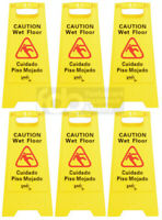 "6 PACK Restaurant Caution Wet Floor Yellow 25"" Folding Sign Commercial"