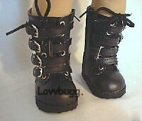 """Black Buckle Combat Boots American Girl or Boy for 18"""" Doll Shoes TRUE US SELLER"""