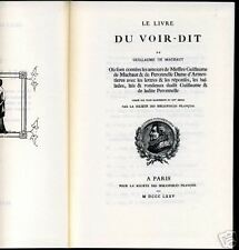 LE LIVRE DU VOIR-DIT. GUILLAUME DE MACHAUT. 1969