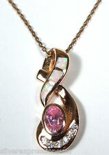 14K Rose Gold Plated 925 Sterling Silver Necklace w/Pink Opal Inlay & Pink Topaz