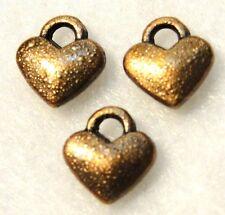 30Pcs. Tibetan Antique Copper Tiny HEART Charms Earring Drops Findings H153
