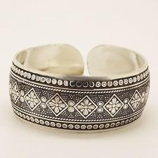 Gypsy Flower Tibetan Silver Cuff Bangle Bracelet Boho Bohemian Hippie Jewelry