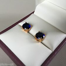 Classic round blue sapphire 7mm 14k YELLOW GOLD gf stud earrings BOXED Plum UK