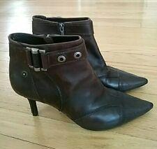 Christian Dior Dark Brown Leather Zip Booties boots 39.5
