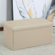 Faux Leather Folding Storage Ottoman Bench Large Size Chest Footrest Coffee Tabl