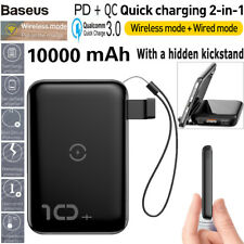 Baseus Mini Power Bank 10000mAh PD/QC3.0 Wireless Quick Charge Charger Digital