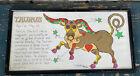 "1968 Vintage MARGOT JOHNSON ""Taurus"" Framed Astrology Print Zodiac Horoscope"