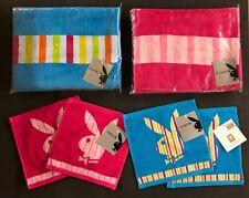 PLAYBOY Badetuch/Saunatuch + Waschlappen 6er Set für Sie & Ihn, pink/blau