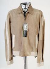Fendi y seda chaqueta de bombardero de cuero de gamuza color beige EU52 Grande/Xl Rrp £ 1900