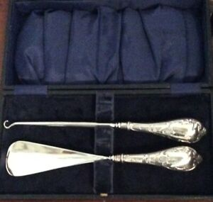 solid silver Handled Shose horn and Button Hook  Birmingham 1910