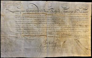 KING LOUIS XV AUTOGRAPH ON MILITARY ORDER FOR CAPITAINE M. de  BOISBLANK - 1745