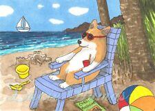 ACEO art print Dog 71 Corgi beach from funny original painting L.Dumas