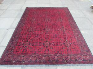 Fine Old Hand Made Traditional Afghan Oriental Wool Red Large Rug 237x178cm
