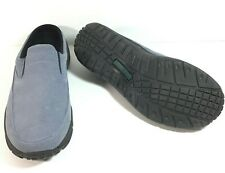 L L Bean Womens 10 W Lt Blue /Gray Suede Slip-On Clog Slides Loafer Comfort Mocs