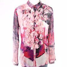 RARE femmes Blouse 40 IT 46 multicolore transparent à volants fleurs NP 139 NEUF