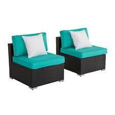 2 PCs Rattan Patio Sofa Set Wicker Armless Combined Furniture Tiffany Blue
