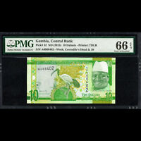 Gambia Central Bank 10 Dalasis ND 2015 PMG 66 GEM UNC EPQ P-32 TDLR
