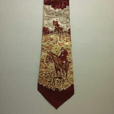 Vintage 1950's Hand Painted Silk Necktie Tie - Horse Horseman - Multicolor Red