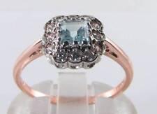 DAINTY 9K 9CT ROSE GOLD AQUAMARINE DIAMOND ART DECO INS RING FREE RESIZE