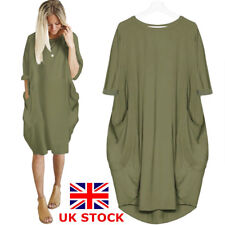 UK Womens BOHO Plus Size Dress Italian Lagenlook Quirky Baggy Pocket Tunic Dress