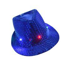 Flashing Light Up Led Fedora Trilby Sequin Unisex Dance Party Fancy Dress Hat/h