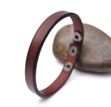 Slim Simply Cool Genuine Leather Bracelet Cuff Wristband Snap Mens Unisex Brown