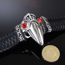 Monster Tamaño-Cuero Real 316l Stainless Steel Bracelet hombres cráneo Goth Alien 5