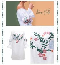 3/4 Sleeve Regular Dresses for Women with Embroidered