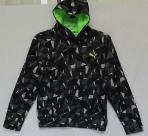 PUMA Kids Boys Gray Black Geometric Polyester Pullover Hoodie Size Large
