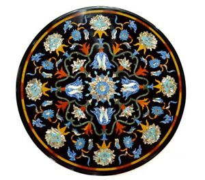 "23"" Table Top Black Marble Inlay Decorative Handmade Work"