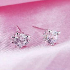 Earrings -  Delicate crystal cat face studs on white gold filled